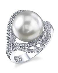 THE PEARL SOURCE 18K Gold 12-13mm Round Genuine White South Sea Cultured Pearl & Diamond Clara Ring for Women