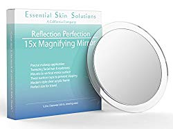 15X Magnifying Mirror – Use for Makeup Application – Tweezing – and Blackhead/Blemish Removal – 6 Inch Round Mirror with Three Suction Cups for Easy Mounting