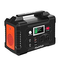 200W Portable Power Station, FlashFish 40800mAh Solar Generator with 110V AC Outlet/2 DC Ports/3 USB Ports, Battery Power Supply for CPAP Outdoor Adventure Load Trip Camping Emergency.
