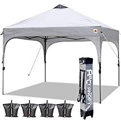 ABCCANOPY Canopy Tent 10×10 Pop Up Canopy Outdoor Canopies Super Comapct Canopy Portable Tent Popup Beach Canopy Shade Canopy Tent with Wheeled Carry Bag Bonus 4xWeight Bags,4xRopes&4xStakes, Gray