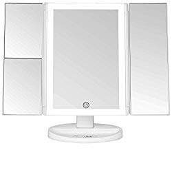 Absolutely Luvly Trifold Vanity Mirror with Lights | LED Makeup Mirror with Lights and Touch Screen Dimming – 1x 2x 3x Magnification – Portable Lighted Makeup Mirror | Great Vanity Mirror with Lights