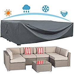 AKEfit Patio Furniture Cover Outdoor sectional Furniture Covers Waterproof Dust Proof Furniture Lounge Porch Sofa Protectors D126″x W64″x H29″
