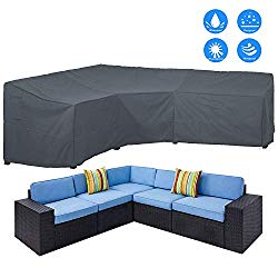 AKEfit Patio Furniture Cover Outdoor V-Shaped Sectional Sofa Cover Premium Waterproof Fabric Garden Couch Protector Grey 100″ L x 33.5″ D x 31″ H