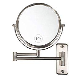 "ALHAKIN Wall Mounted Makeup Mirror – 10x Magnification 8"" Two-Sided Swivel Extendable Bathroom Mirror Nickel Finish"