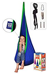AMAZEYOU Kids Swing Hammock Pod Chair – Child's Rope Hanging Sensory Seat Nest Indoor Outdoor Use Inflatable Pillow – Great Children, All Accessories Included (Blue)