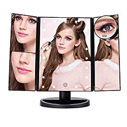 ASCINATE Lighted Makeup Mirror with 21 LED Lights Touch Screen Dimming, Tri-Fold 3X/2X/1X Magnification 180 Degree Rotation Vanity Mirror (Black)