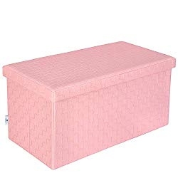 B FSOBEIIALEO Folding Storage Ottoman, Faux Leather Footrest Stool Long Bench, Pink 30″x15″x15″