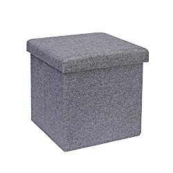 B FSOBEIIALEO Storage Ottoman Cube, Linen Small Coffee Table, Foot Rest Stool Seat, Folding Toys Chest Collapsible for Kids Grey 11.8″x11.8″x11.8″