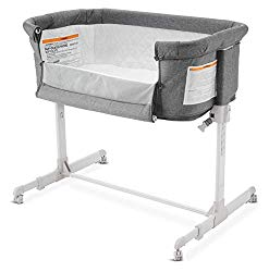 Baby Bassinet Bedside Sleeper for Baby, Converts to Playpen, Easy Folding Portable Crib (Grey)- KoolaBaby