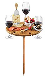Bambusi Portable Picnic Board with Utensils – Natural Bamboo Outdoor Wine Table with Stainless Steel Cutlery – Entertaining & Camping Cheese Board – Great Gift Idea