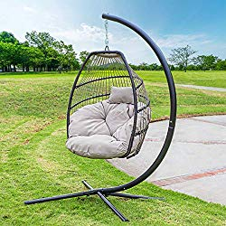 Barton Outdoor Hanging Egg Chair Swing Lounge Chair UV Resistant Soft Deep Cushion Backyard Relax, Beige