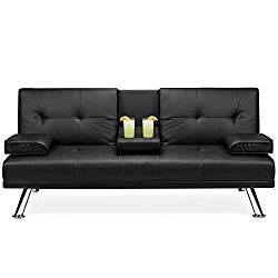 Best Choice Products Modern Faux Leather Convertible Futon Sofa Bed Recliner Couch w/Metal Legs, 2 Cup Holders – Black