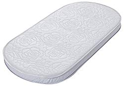 Big Oshi Baby Bassinet Mattress – 16″ x 32″ x 2″ – Waterproof Exterior – Thick, Soft, Breathable Foam Interior – Oval Shaped, Comfy, Padded Design, Also Fits Portable Bassinets