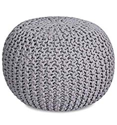 BIRDROCK HOME Round Pouf Foot Stool Ottoman – Knit Bean Bag Floor Chair – Cotton Braided Cord – Great for The Living Room, Bedroom and Kids Room – Small Furniture (Light Grey)