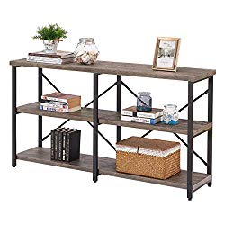 BON AUGURE Rustic Console Sofa Table, Industrial Long Hallway/Entryway Table, 3 Shelf Open Bookshelf (55 Inch, Dark Gray Oak)