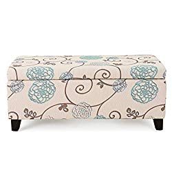 Christopher Knight Home Living Brenway Pattern Fabric Storage Ottoman, 19.00″L x 38.50″W x 16.00″H, White and Blue Floral