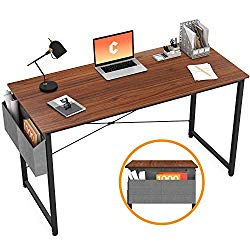 Cubiker Writing Computer Desk 39″ Home Office Study Desk, Modern Simple Style Laptop Table with Storage Bag, Espresso