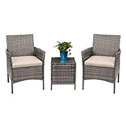 Devoko 3 Pieces Patio Furniture Sets PE Rattan Wicker Chairs with Table Outdoor Garden Porch Furniture Sets (Light Grey)