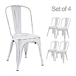 Devoko Metal Indoor-Outdoor Chairs Distressed Style Kitchen Dining Chairs Stackable Side Chairs with Back Set of 4 (White)