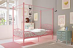 DHP Canopy Bed with Sturdy Bed Frame, Metal, Twin Size – Pink