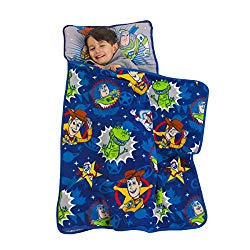Disney Toy Story 4 – Toys in Action Toddler Nap Mat, Blue, Green, Yellow, Grey