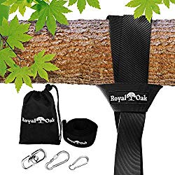 EASY HANG (8FT) TREE SWING STRAP X1 – Holds 2200lbs. – Heavy Duty Carabiner – Bonus Spinner – Perfect for Tire and Saucer Swings – 100% Waterproof – Easy Picture Instructions – Carry Bag Included!