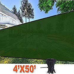 EVERGROW 4′ x 50′ Dark Green Fence Privacy Screen, Free Zip Ties, Commercial Outdoor Backyard Shade Windscreen Mesh Fabric with Rustless Brass Grommet 90% UV Blockage 4 feet x 50 feet Green