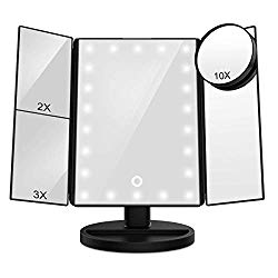 FASCINATE Vanity Mirror with Lights, Trifold Lighted up Makeup Mirror with Magnification 10X/3X/2X, Touch Screen 21 Led, Dual Power Supply, 180° Rotation Portable Lighted Beauty Mirror (Black)