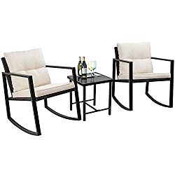Flamaker 3 Pieces Patio Furniture Set Rocking Wicker Bistro Sets Modern Outdoor Rocking Chair Furniture Sets Cushioned PE Rattan Chairs Conversation Sets with Coffee Table (Beige)