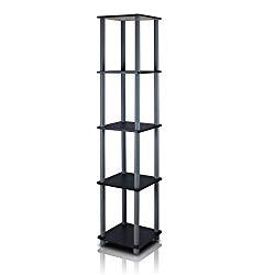 FURINNO Turn-N-Tube 5-Tier Corner Square Rack Display Shelf, Round, Black/Grey