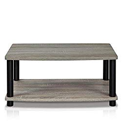FURINNO Turn-N-Tube No Tools 2-Tier Elevated TV Stand, French Oak Grey/Black