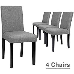 Furmax Dining Chairs Urban Style Fabric Parson Chairs Kitchen Livng Room Armless Side Chair with Solid Wood Legs Set of 4 (Gray)