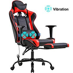 Gaming Chair Racing Office Chair PC Computer Chair Massage Desk Chair PU Leather Recliner Ergonomic Chair with Lumbar Support Headrest Armrest Footrest Rolling Swivel Task Chair for Women Adults, Red