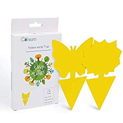 Garsum Sticky Trap,Fruit Fly and Gnat Trap Yellow Sticky Bug Traps for Indoor/Outdoor Use – Insect Catcher for White Flies,Mosquitos,Fungus Gnats,Flying Insects – Disposable Glue Trappers (12 pcs)
