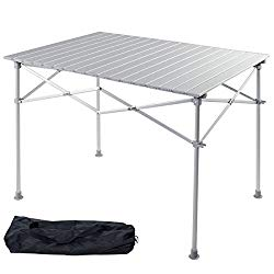 Giantex Portable Aluminum Folding Table Lightweight Outdoor Roll Up Camping Picnic Table with Storage Bag (40″ L x 28″ W)