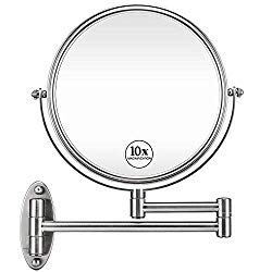 GloRiastar 10X Wall Mounted Makeup Mirror – Double Sided Magnifying Makeup Mirror for Bathroom, 8 Inch Extension Brushed Nickel Mirror