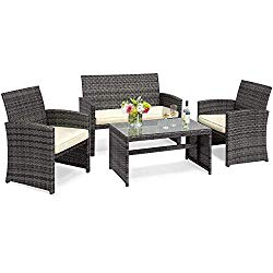 Goplus 4-Piece Rattan Patio Furniture Set Garden Lawn Pool Backyard Outdoor Sofa Wicker Conversation Set with Weather Resistant Cushions and Tempered Glass Tabletop (Mix Gray)