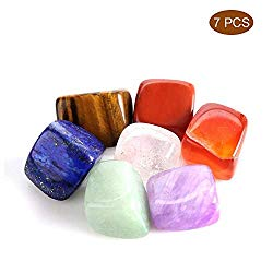 GZQ Chakra Stones Healing Crystals Set of 7, Healing Crystals for Use as 7 Chakra Stones and Worry Stones for Grounding Balancing Soothing Meditation Reiki