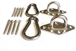 Heavy Duty Hammock hanging kit – Load capacity 800 lb. Ultra Durable Hammock Hooks&Carabiners For Hammock Stand,Yoga&Brazilian Hammocks,Swing Chair,Multiple Indoor Outdoor