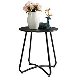 HollyHOME Small Round Patio Metal Side Snack Table, Accent Anti-Rust Steel Coffee Table for Garden, Modern Weatherproof Outdoor End Table, (H) 17.55″ x(D) 15.60″, Black