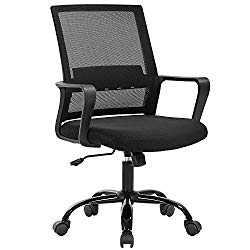 Home Office Chair Ergonomic Desk Chair Swivel Rolling Computer Chair Executive Lumbar Support Task Mesh Chair Adjustable Stool for Women Men,Black