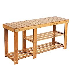 HOMFA Bamboo Shoe Rack Bench 3-Tier, Entryway Storage Organizer with Seat, Shoe Shelf for Boots, Multi Function Furniture for Hallway, Bathroom, Living Room, Corridor Natural Color