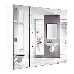 HOMFA Bathroom Wall Mirror Cabinet, 27.6 inches Multipurpose Storage Organizer Medicine Cabinet Space Saver with 3 Doors Adjustable Shelf Kitchen Cupboard, White
