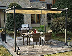 Kozyard Morgan Outdoor 10'x13′ Extra Large BBQ Grill Pergola with Sun Shade Gazebo Canopy Beige Canopy,UV Resistant Fabric,