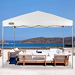 LAKE & TRAIL 10'x10′ Striaght Leg UV Block Sun Shade Canopy with Hardware Kits, Shade for Patio Outdoor Garden Events, White