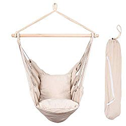 Lazy Daze Hammocks Hanging Rope Hammock Chair Swing Seat with Two Seat Cushions and Carrying Bag, Weight Capacity 300 Lbs, Natural