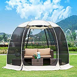 Leedor Gazebos for Patios Screen House Room 6-8 Person Canopy Mosquito Net Camping Tent Dining Pop Up Sun Shade Shelter Mesh Walls Not Waterproof Beige,10'x10′