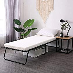 LEISUIT Rollaway Guest Bed Cot Fold Out Bed – Portable Folding Bed Frame with Thick Memory Foam Mattress for Spare Bedroom & Office