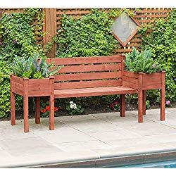 Leisure Season PBB7821-V Wood Planter Outdoor-Storage-Benches, Medium Brown