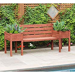 Leisure Season PBB7821 Wood Planter Bench – Brown – 1 Piece – Outdoor Wooden Seat with Raised Plant – Rustic Garden and Yard Decoration – Roses, Herb, Flower Display – Deck, Patio and Pergola Seating